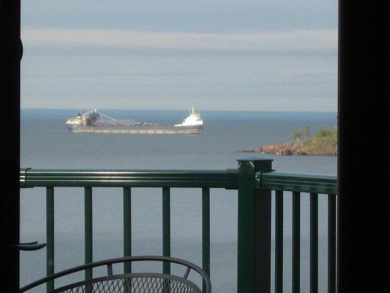 Superior Shores Resort : View from balcony of ore ship entering the harbor in Two Harbors, MN