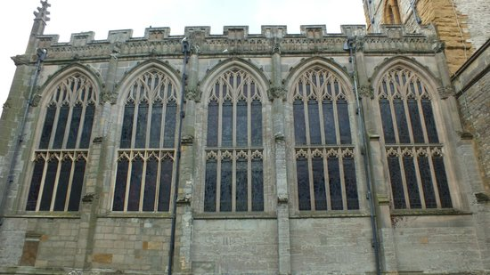 Holy Trinity Church: Details of fine gothic windows through which light flows.