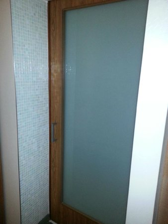 SpringHill Suites Tallahassee Central : Glass door separating toilet from bedroom/living area