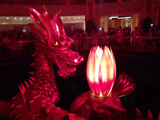 Wynn Macau: The dragon show, every hour in the hotel. A must see!