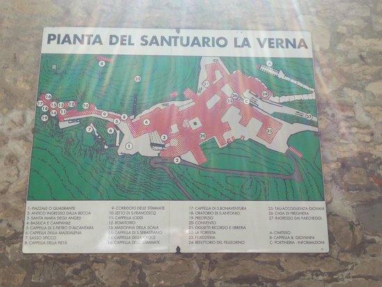 La Verna (Santuario Francescano) : Pianta del Santuario di La Verna