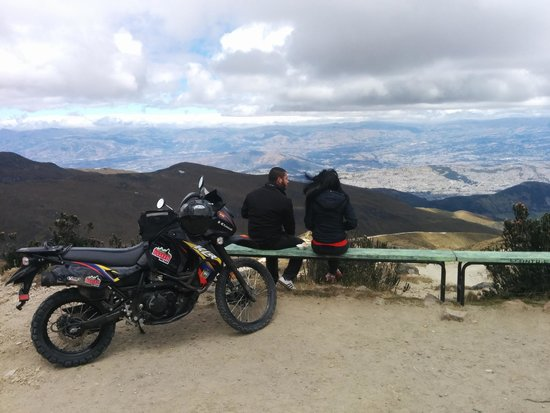 Ecuador Freedom Bike Rental: My bike perched on top of the Volcano overlooking Quito