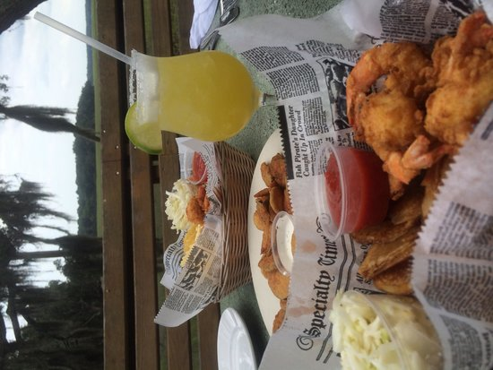 Foolish Frog: Fresh local fried shrimp and homemade fried pickles for lunch on the Marsh Deck! Best margaritas