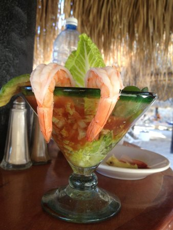 Club Cascadas de Baja: Mmm.. Shrimp cocktail & happy hour all day long!!