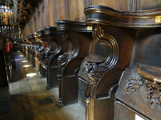 Chester Cathedral: The choir stalls, showing the misericords... wonderful; carvings