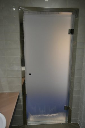 The House Hotel: Bathroom door. Frosted glass.