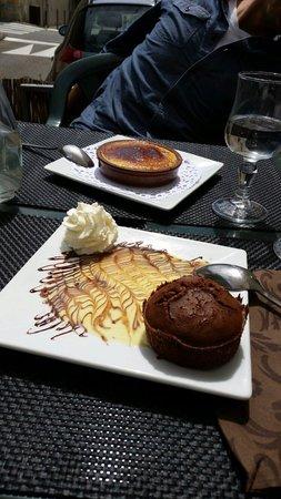 Chez David : Crème catalane et moelleux au chocolat