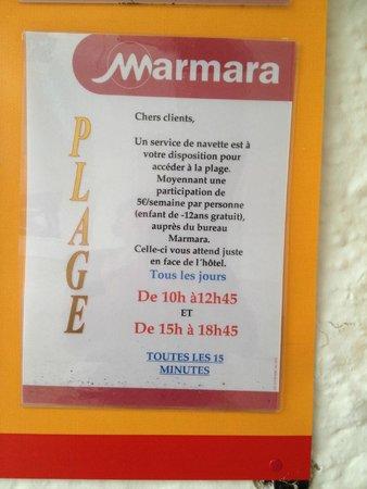 Club Marmara Del Mar : super horaire navette