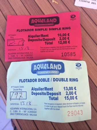Aqualand Torremolinos: Tickets of my stolen floating rings.