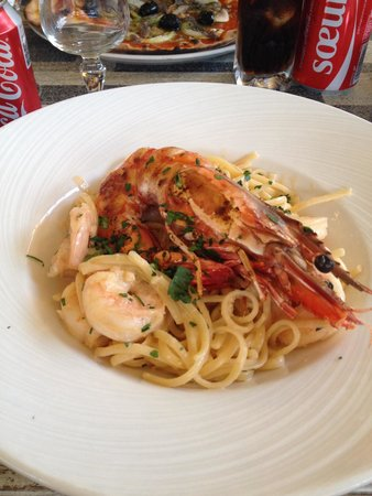 L'ile D'or : Linguine aux gambas geants