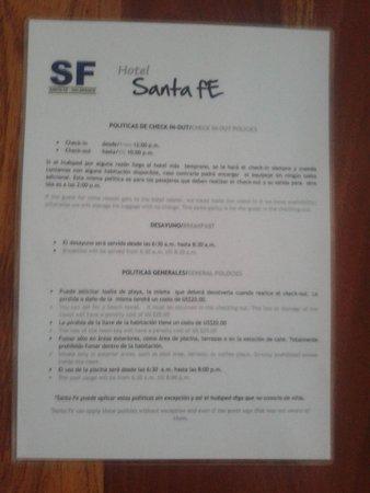 Hotel Santa Fe: Normas