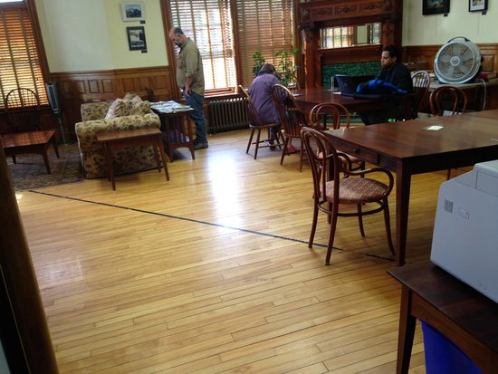 Haskell Free Library & Opera House: the canada/US border (tape on floor)