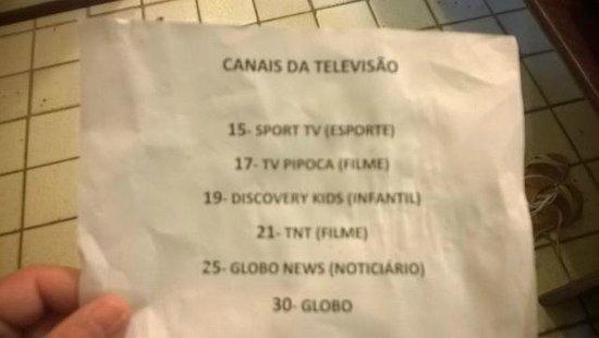 Pousada Tabapitanga: Relação de canais de tv, absurdo!