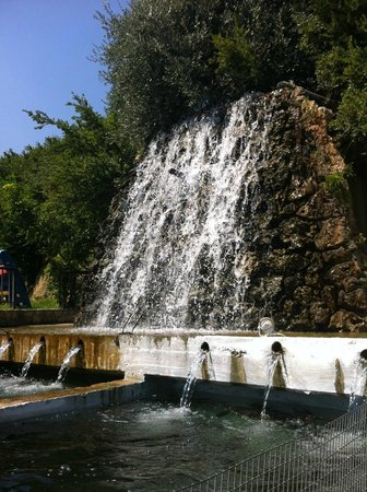 Idi Hotel: A waterfall at the fish farm of Taverna Votomos, the taverna which was part of the hotel