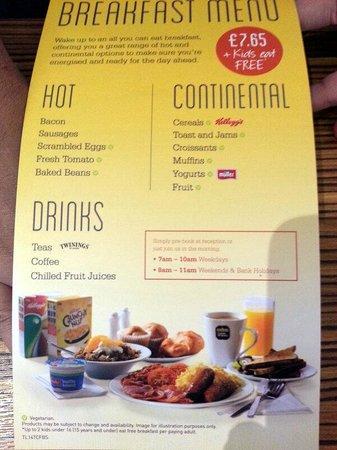Travelodge Edinburgh Central: Hotel-Menú desayuno
