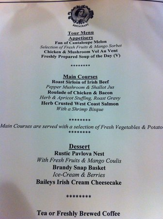 Dundrum House Hotel, Golf and Leisure Resort: Menu