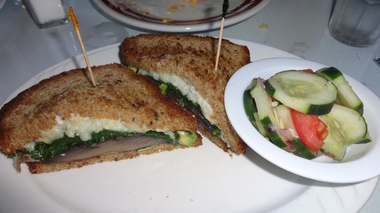 Bella Vida Garden Cafe: The Jeannie Panini, Spinach and Cheese on a Portobello mushroom cap and a cucumber salad on the