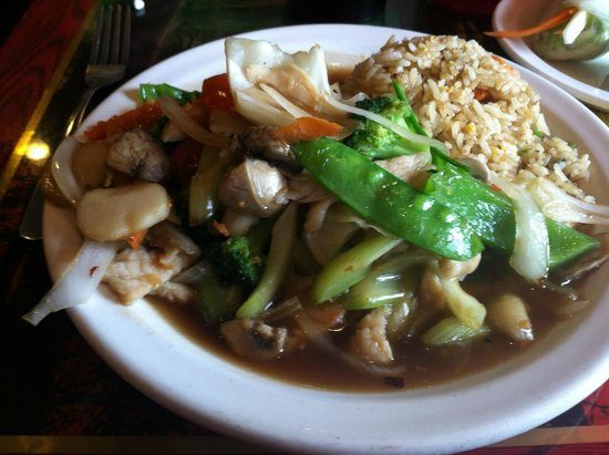 Spice Thai Cuisine: Pad mixed vegetables with chicken and fried rice