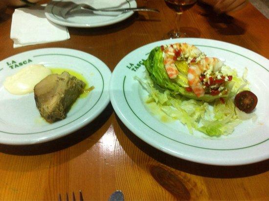Restaurante La Tasca: Atún mechado y cogollos con langostinos
