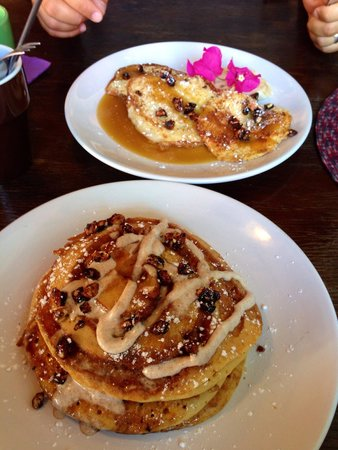 Lola Valentina : Breakfast! Cinnamon swirl pancakes and tres leches french toast