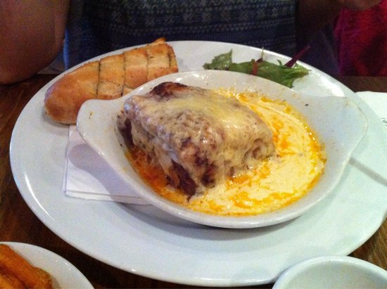 Cuan Mor: The most meaty Lasagne still bubbling when served.