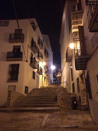 Castillo de Peñíscola: nightime street views. Inside the castle