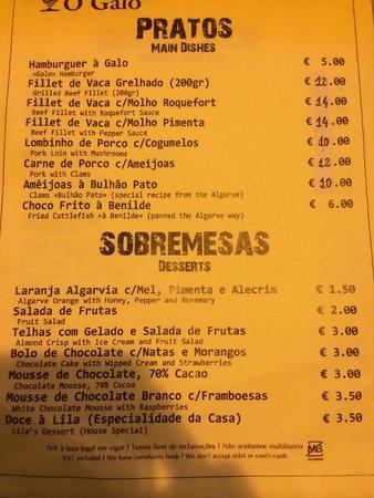 Tasquinha O Galo: menu