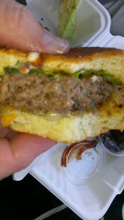 Park 121: Our medium burger,overcooked