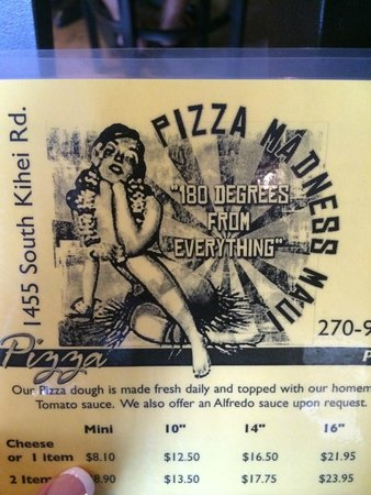 Pizza Madness Maui : Piece of menu showing pricing