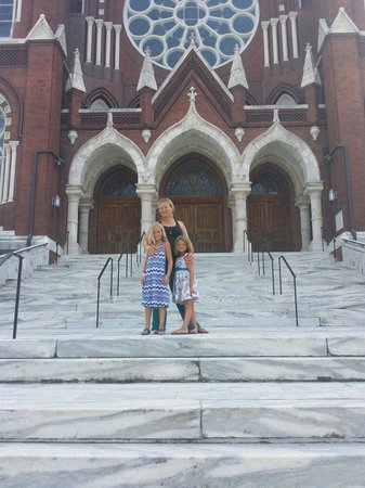 On the front steps of St. Joseph's Catholic Church in downtown Macon, GA