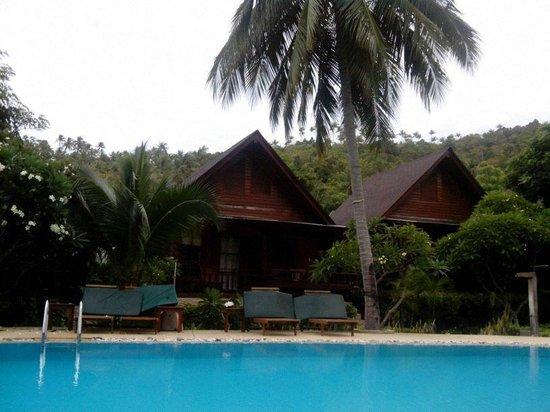 Green Papaya Resort: Cabañas que rodean la piscina