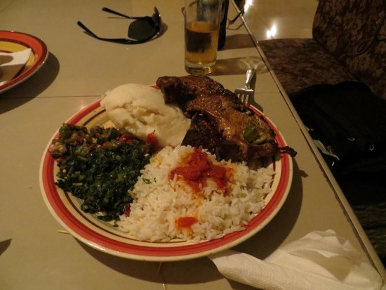 Cafe Zambezi: Beef and vegetable plate with ugali and rice