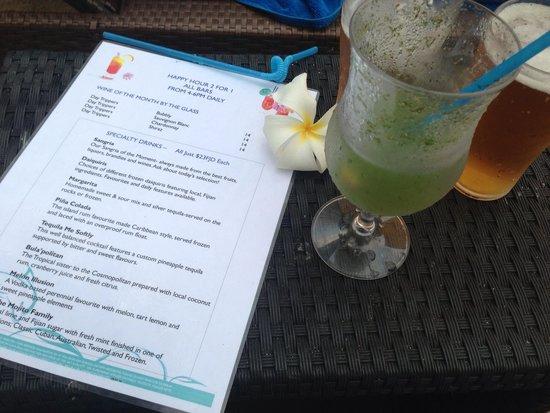Radisson Blu Resort Fiji Denarau Island: Happy hour menu