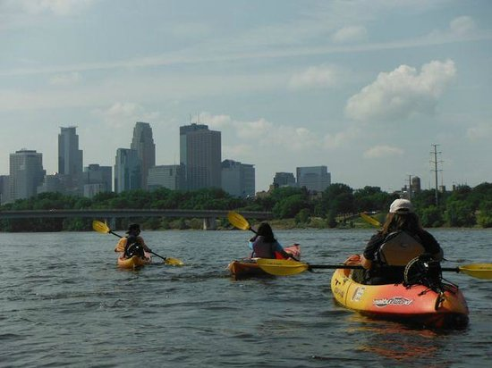 Above the Falls Sports: On the Mississippi with a view of the Minneapolis skyline