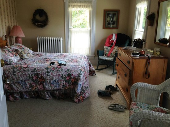Hudson Manor Bed & Breakfast: Cayuga Room (sorry for the mess)