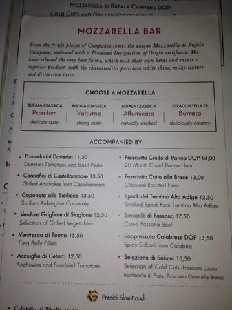 Obica Mozzarella Bar: Mozzarella menu