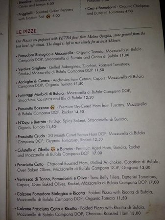 Obica Mozzarella Bar: Pizza menu