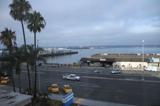 Wyndham San Diego Bayside: View from balcony, with Marines jogging by....