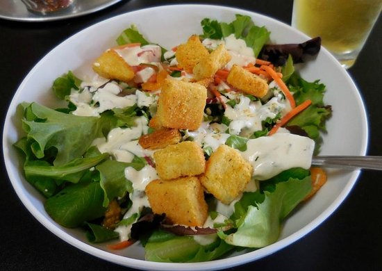 Sweet Basil Pizzeria: House salad with ranch dressing