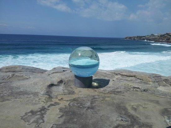 Bondi to Coogee Beach Coastal Walk: Coastal view through large globe
