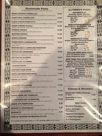 Alforno's Italian Kitchen: Menu Page 2