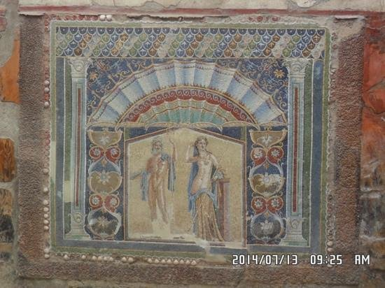 Ruins of Herculaneum: Example of stunning mosaic work preserved in volcanic mud