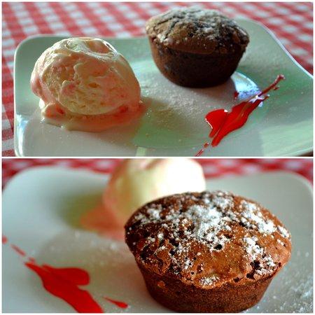 Mediterraneo Spanish & Italian Restaurant : NEW DESSERT! Homemade chocolate almond brownie muffin with Italian yogurt ice cream!