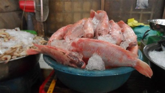 Le Tigre de Papier Cooking School: fish in the market