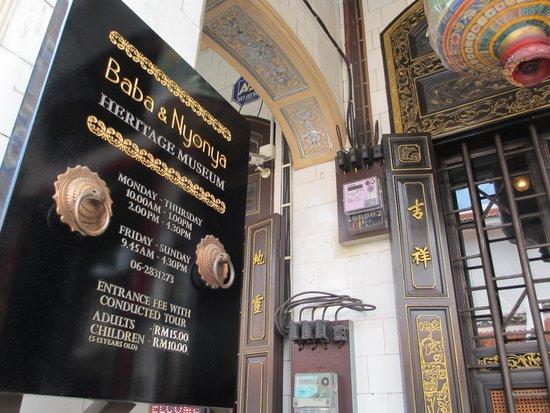 Baba & Nyonya Heritage Museum: The sign