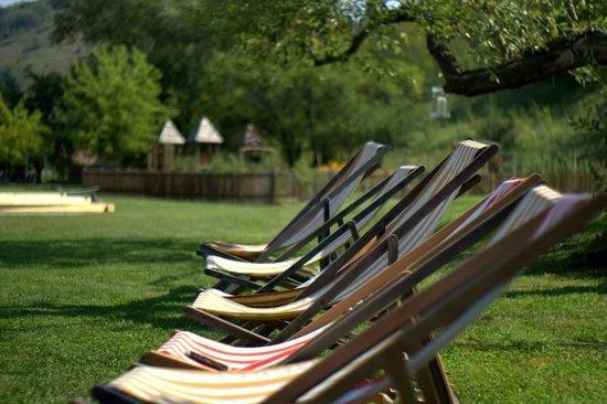 Valea Verde Resort: sunbathing by the pond