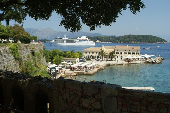 "Mayor Mon Repos Palace 'Art Hotel"": cruise ship entering corfu port"
