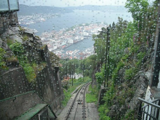Mount Floyen and the Funicular (Floibanen): Floibanen in the rain!! July 2010