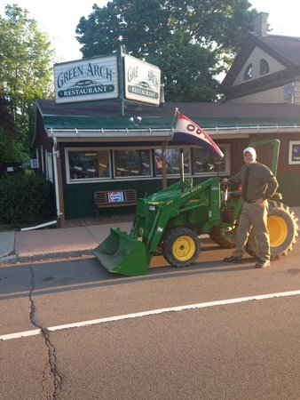 "Green Arch Restaurant: Jason participating in ""drive your tractor to school day"""