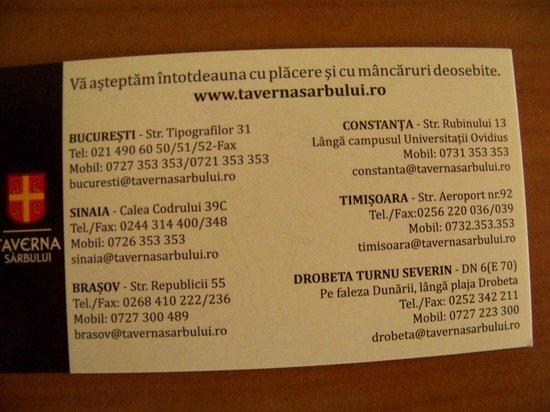 Taverna Sarbului : Card enclosed with bill